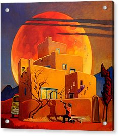 Taos Wolf Moon Acrylic Print by Art West