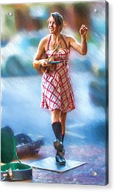 Tap Dancing With A Violin Acrylic Print by John Haldane