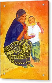 Tarascan Senora  And Nino Acrylic Print by Buster Dight