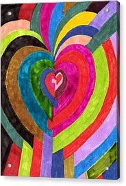 Target Hearts Acrylic Print by Brenda Adams