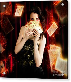 Tarot Magician Holding Magic Fire Cards Of Fate Acrylic Print by Jorgo Photography - Wall Art Gallery
