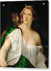 Tarquinius And Lucretia Acrylic Print by Titian