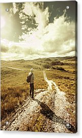 Tasmanian Man On Road In Nature Reserve Acrylic Print by Jorgo Photography - Wall Art Gallery
