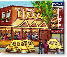 Tasty Food Pizza On Decarie Blvd Acrylic Print by Carole Spandau