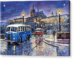 Tatra 85-91bus 1938 Praha Rnd Bus 1950 Prague Manesuv Bridge Acrylic Print by Yuriy Shevchuk
