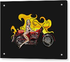Tattoo Pinup Girl On Her Motorcycle Acrylic Print by Tom Conway