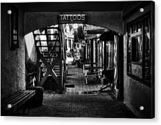 Tattoos And Body Piercing In Black And White Acrylic Print