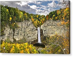Taughannock Falls Autumn Acrylic Print by Christina Rollo