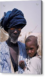 Taureg Father And Son In Senegal Acrylic Print by Carl Purcell