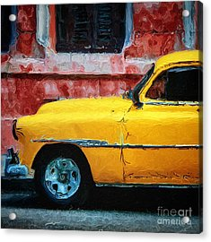 Taxi Against Red Wall Acrylic Print