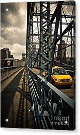 Taxi Crossing Smithfield Street Bridge Pittsburgh Pennsylvania Acrylic Print by Amy Cicconi