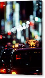 Taxis On The Ginza Acrylic Print by Brad Rickerby