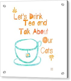 Tea And Cats Square Acrylic Print