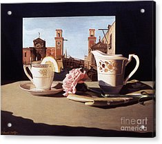 Tea And Venetian Landscape Acrylic Print by Daniel Montoya