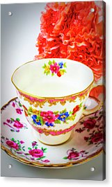Tea Cup And Carnations Acrylic Print
