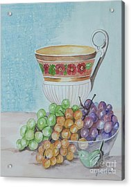 Tea Cup And Grapes Acrylic Print by Janna Columbus