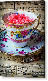 Tea Cup And Sheet Music Acrylic Print