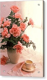 Tea Cup With Pink Carnations Acrylic Print by Garry Gay