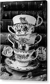 Tea Cups In Black And White Acrylic Print