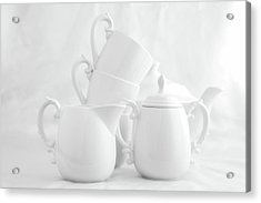 Tea For Three In White Acrylic Print