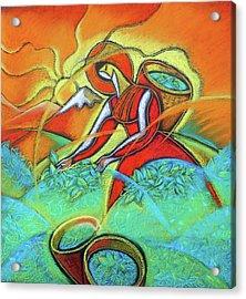 Tea  Leafs Harvesting Acrylic Print by Leon Zernitsky