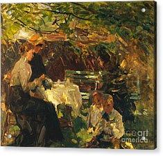 Tea In The Garden, Acrylic Print by Walter Frederick Osborne