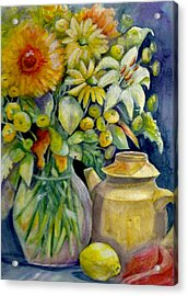 Tea Pot And Flowers Acrylic Print by KC Winters