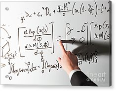 Teacher Pointing Finger On Equality Math Symbol On Whiteboard Acrylic Print by Michal Bednarek