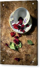 Teacup And Red Rose Petals Acrylic Print