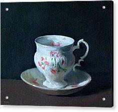 Teacup And Saucer On Dark Background Acrylic Print