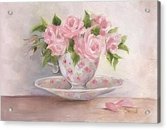 Teacup And Saucer Rose Shabby Chic Painting Acrylic Print