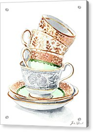 Teacups Collection Antique Watercolor Painting - Mismatched Green Gold Tea Party Alice In Wonderland Acrylic Print