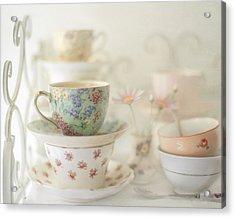 Teacups On White Acrylic Print by Sharon Lapkin