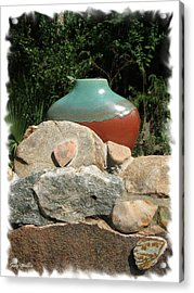 Teal And Brown Clay Pot  Acrylic Print by Judy  Waller