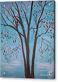 Acrylic Print featuring the painting Teal And Brown by Leslie Allen