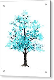 Teal Cherry Blossom Tree Watercolor Art Print Acrylic Print