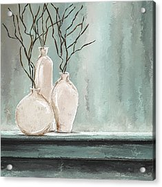 Teal Elegance - Teal And Gray Art Acrylic Print by Lourry Legarde
