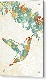 Floral Hummingbird Art Acrylic Print