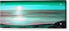 Teal Panoramic Sunset Acrylic Print by Gina De Gorna