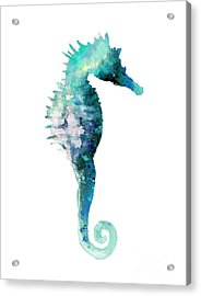 Teal Seahorse Nursery Art Print Acrylic Print by Joanna Szmerdt