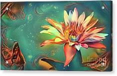 Teal Waterlilies 5 Acrylic Print by Amy Cicconi