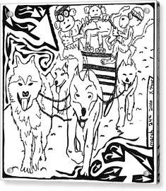Team Of Monkeys Dog Sled Maze Acrylic Print by Yonatan Frimer Maze Artist