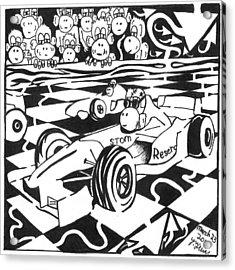 Team Of Monkeys Go Kart Race Acrylic Print by Yonatan Frimer Maze Artist