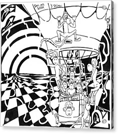 Team Of Monkeys Maze Comic Hot Air Balloon Acrylic Print by Yonatan Frimer Maze Artist