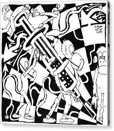 Team Of Monkeys Swine Flu H1n1 Vaccine Acrylic Print by Yonatan Frimer Maze Artist