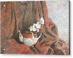Teapot On Red Acrylic Print by Pat Schermerhorn