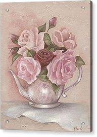 Teapot Roses Acrylic Print