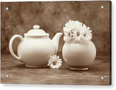 Teapot With Daisies II Acrylic Print by Tom Mc Nemar
