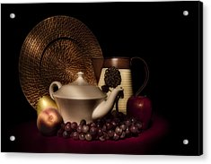 Teapot With Fruit Still Life Acrylic Print by Tom Mc Nemar