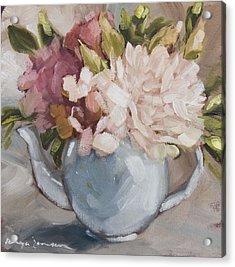Teapot With Peonies Acrylic Print
